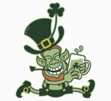Green Leprechaun Running while Holding a Glass of Beer Kids Clothes