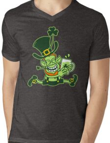 Green Leprechaun Running while Holding a Glass of Beer Mens V-Neck T-Shirt