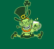 Green Leprechaun Running while Holding a Glass of Beer Womens Fitted T-Shirt