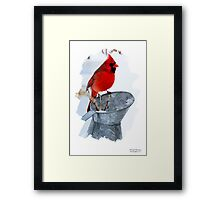 Cardinal on Water can Winter Scene Framed Print