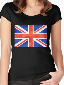 Grunge United Kingdom Flag Women's Fitted Scoop T-Shirt