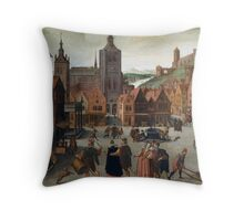 Abel Grimmer The Marketplace in Bergen op Zoom probably 1590 and 1597 Throw Pillow