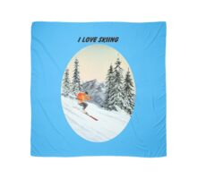 I LOVE SKIING With A Banner Scarf