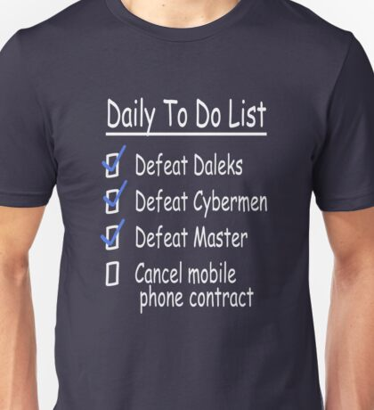 Dr Who - To Do List  Unisex T-Shirt