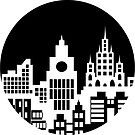 Black and white silhouette of the city by Alexzel