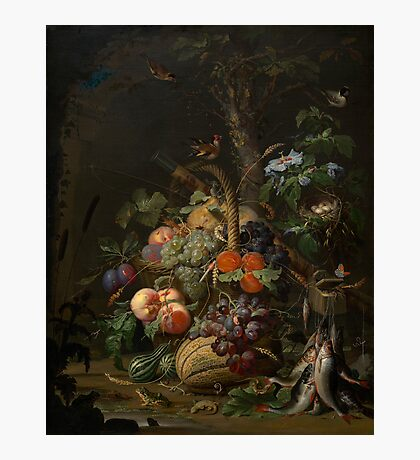 Abraham Mignon Still Life with Fruit, Fish, and a Nest c. 1675 Photographic Print