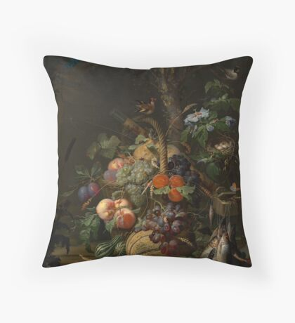 Abraham Mignon Still Life with Fruit, Fish, and a Nest c. 1675 Throw Pillow