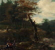 Adam Pynacker Wooded Landscape with Travelers late 1640s by Adam Asar
