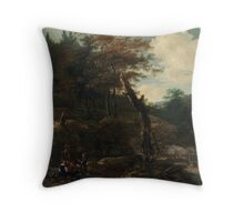 Adam Pynacker Wooded Landscape with Travelers late 1640s Throw Pillow