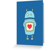 Blue Cute Clumsy Robot With Heart Greeting Card
