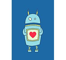 Blue Cute Clumsy Robot With Heart Photographic Print