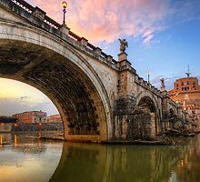 Ponte Sant' Angelo Sunset by Yhun Suarez