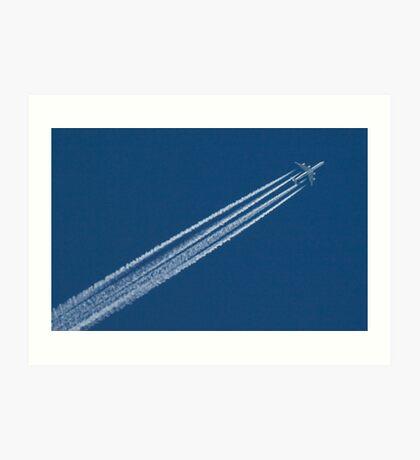 ipad cover. Airplane in a blue, blue sky. Art Print