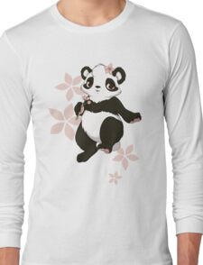 Girl panda with flowers Long Sleeve T-Shirt