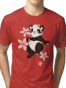 Girl panda with flowers Tri-blend T-Shirt