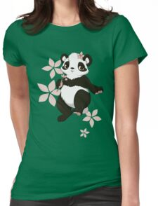 Girl panda with flowers Womens Fitted T-Shirt
