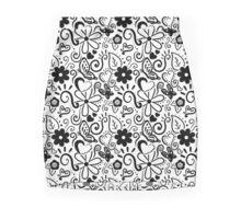 Spring Doodles (White and Black) Mini Skirt