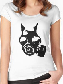 Future War Dog with a gas mask Women's Fitted Scoop T-Shirt