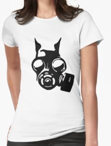 Future War Dog with a gas mask Womens Fitted T-Shirt
