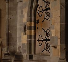 Door at St. Davids catheral by Crimmy
