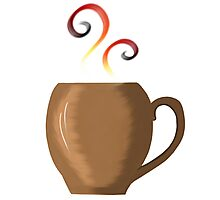 Brown cup of fresh coffee or tea Photographic Print