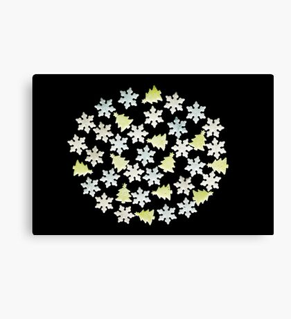 Christmas pattern with ornaments Canvas Print