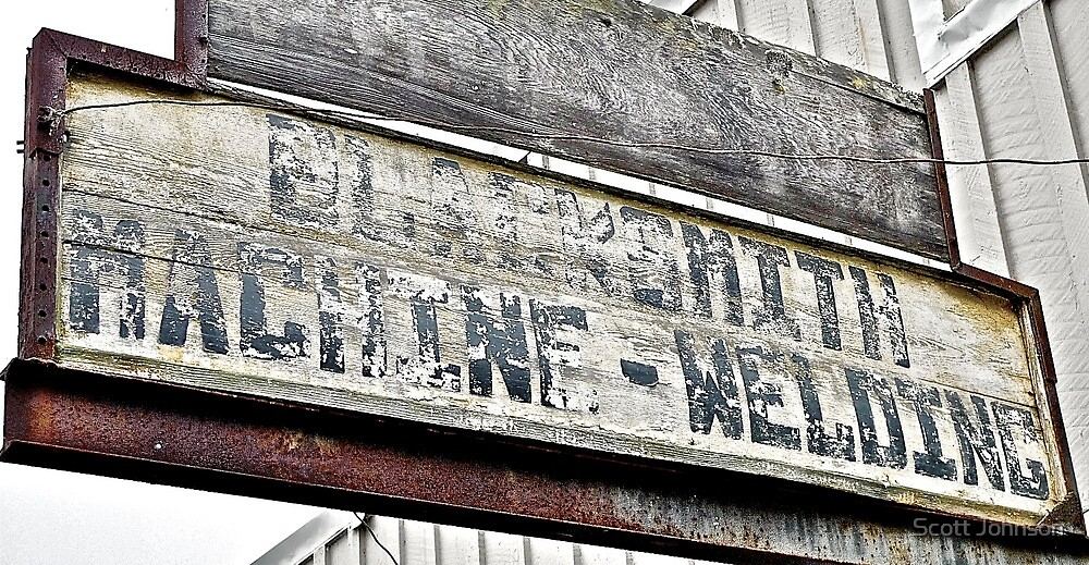 Weathered Coastal California Blacksmith Sign by Scott Johnson