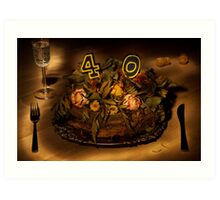 Birthday cake nr 40 Art Print