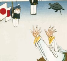 Chinese man frightened by two toy figures of Japanese soldiers and a turtle hanging by strings 001 Sticker