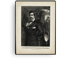 Satan tempting Booth to the murder of the President, [Magee Portrait of Booth]. Canvas Print