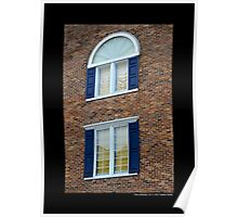 Red Brick Building With Blue Exterior Shutters Windows - Port Jefferson, New York  Poster