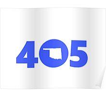 405 Oklahoma Proud Blue Poster