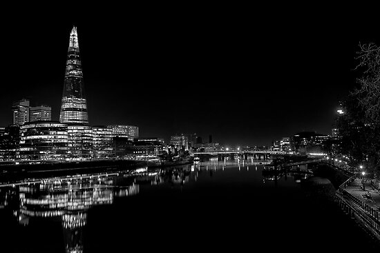 The Shard at Night black and White by Dean Messenger