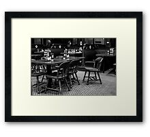 Empty Chairs At Empty Tables Framed Print