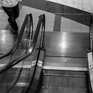 Escalator (black and white) by Nevermind the Camera Photography