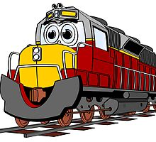 Burgundy Train Engine Cartoon by Graphxpro