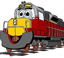Burgundy Train Engine Cartoon by Graphxpro