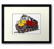 Burgundy Train Engine Cartoon Framed Print