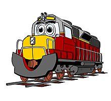 Burgundy Train Engine Cartoon Photographic Print