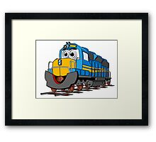 Blue Train Engine Cartoon Framed Print