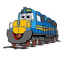 Blue Train Engine Cartoon Photographic Print
