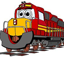 Red Train Engine Cartoon by Graphxpro