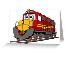 Red Train Engine Cartoon Greeting Card
