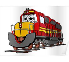 Red Train Engine Cartoon Poster