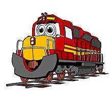 Red Train Engine Cartoon Photographic Print