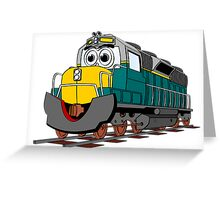 Tiel Train Engine Cartoon Greeting Card