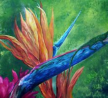 Lizard on Bird of Paradise by EloiseArt