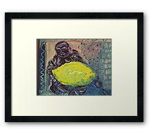 Buddha and the lemon Framed Print