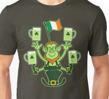 Leprechaun Juggling Beers and Irish Flag Unisex T-Shirt