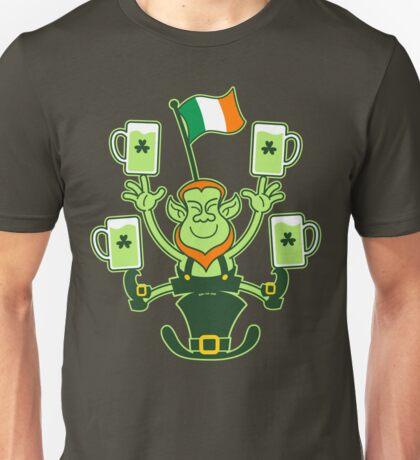 Leprechaun Juggling Beers and Irish Flag Unisex T-Shirt